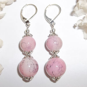 Pink and Silver Glass Beaded Earring Jewelry 3796